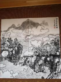 何加林,手绘风景画,
