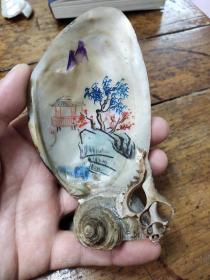 文革時期——北螺殼——手繪山水擺件