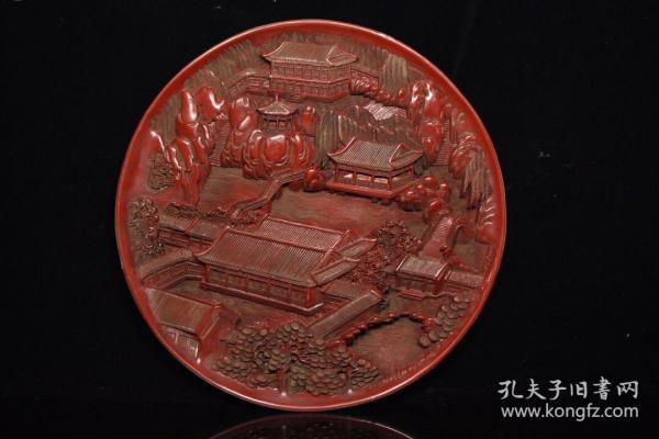 剔紅漆器雕刻盤子,360