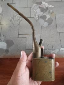 清末民国时期雕刻人物纯铜水烟袋水烟壶
