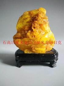 清代传世精致的老田黄石雕人物图摆件