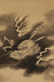 《墨龙图》绢本 木箱;日本回流字画 日本回流书画