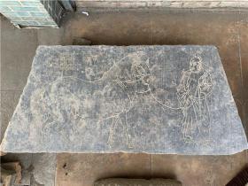 【古玩古董老石器古石器旧石器】乡下老房子拆获名人纂刻官人牵马图
