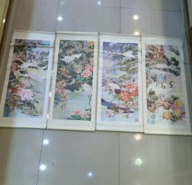 年画四条屏 :松鹤延年(1984年天津杨柳青画社1版1印 )