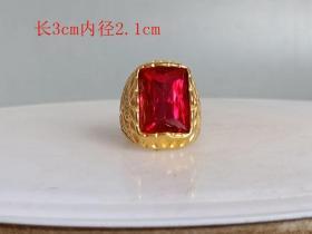 乡下收的老凤祥18k 镶嵌红宝石戒指