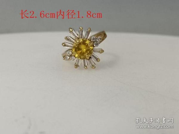 乡下收的镶嵌黄宝石戒指