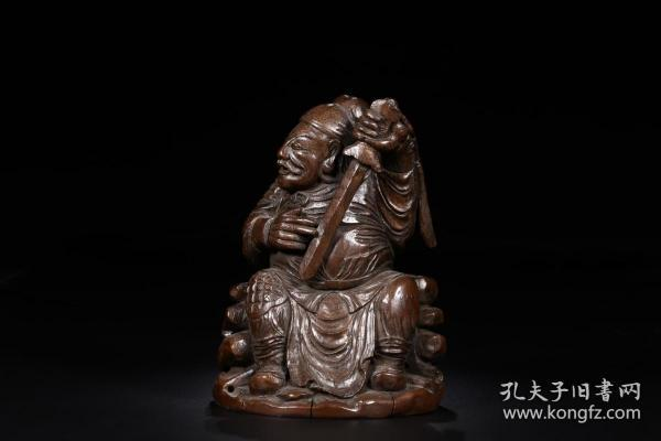 清代:竹雕武官坐像
