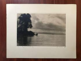 早期外国摄影家风景摄影作品一幅 尺寸大 有签名