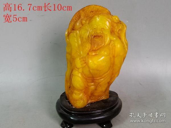 清代传世雕工不错的老田黄石汉钟离八仙摆件
