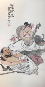◆【顺丰包邮】、【纯手绘】【张立奎】★中美协会员、手绘四尺整张人物画(138*69CM)1买家自鉴.