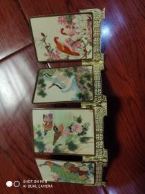 1984,西冷印社年历片。4枚屏风式,连体卡