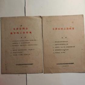 毛泽东同志论党的工作作风(1961年)+毛泽东同志论政策1960年(草纸印刷)【 正品品好 实拍如图 】