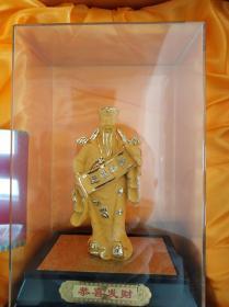 绒沙金财神像工艺品新品 原包装
