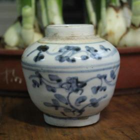 保真明清古陶瓷收藏品 明晚清早青花花卉莲子小罐 包真民窑陶瓷包老货