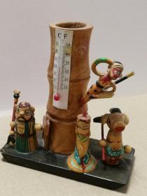 西游记笔筒(手工木质,带温度计)多图实拍保真