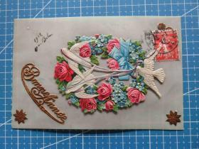 法国1912年1月3日-凸版-燕子迎春花卉图--问候祝福--新年贺卡塑料明信片(107年前的塑料很贵的)