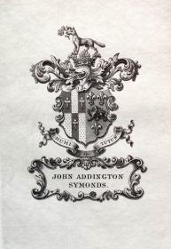 """英国艺术家""""THOMAS MORING""""铜版纹章藏书票  票主: JOHN ADDINGTON SYMONDS 1901"""