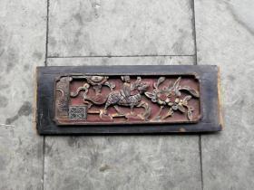 清代鎏金人物麒麟木雕  深雕厚板