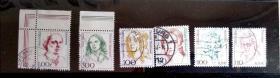 外国邮票 德国妇女信销邮票6枚 少见有边齿