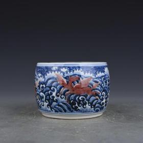明宣德青花釉里红海兽纹蛐蛐罐5 古玩古董古瓷器老货收藏   10×14厘米   90