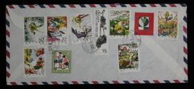 北京航空寄美国封,贴T43西游记邮票7枚、T44齐白石55分等10枚JT邮票