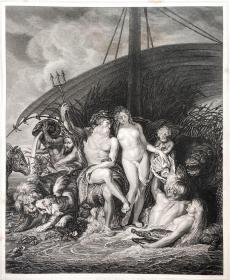 """1869年维也纳画廊钢板画系列—《海神尼普顿和妻子安菲特里忒》佛兰德斯画家 """"鲁本斯(Peter Paul Rubens,1577--1640) """"作品26.5x21.5cm"""