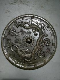 圆型龙铜镜子,直径18公分的,--..