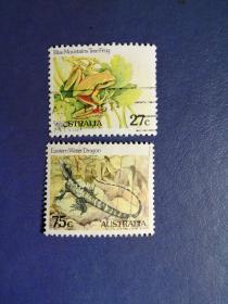 外国邮票 澳大利亚邮票 爬行动物 2枚(信销票)