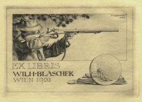 奥地利铜版雕刻大师--考斯曼藏书票原作19