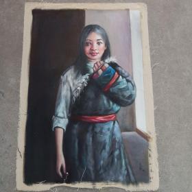 1989年  落款人   艾轩 藏族少女油画   尺寸 70x100㎝,500包邮。