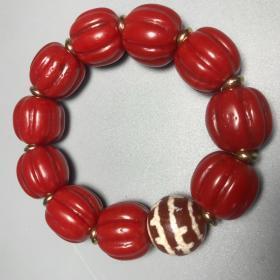 青海收来的红琉璃配天珠佛珠手串