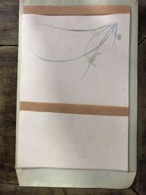 绝版老笺:罗聘兰花画笺---朵云轩木版水印信笺(18*27)全套共40页