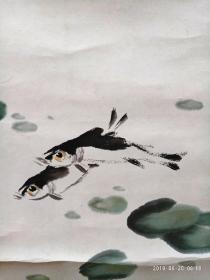 李苦禅,大鱼吃小鱼.64X65