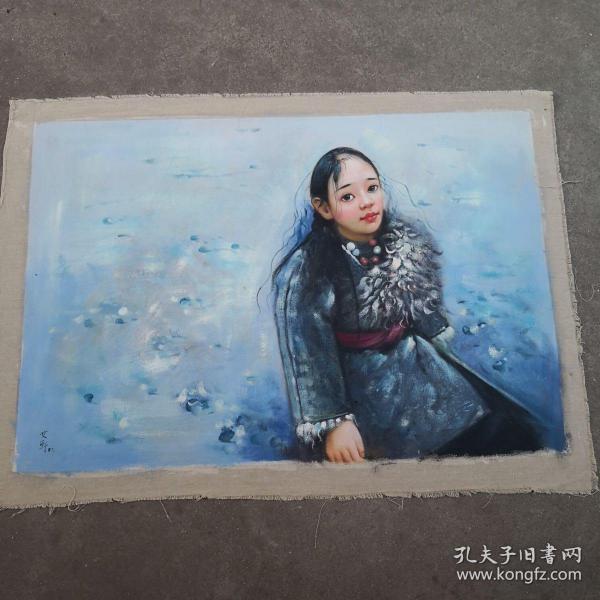 1987年 小女孩油畫一幅  尺寸:70x100cm,落款人:艾軒,500包郵。