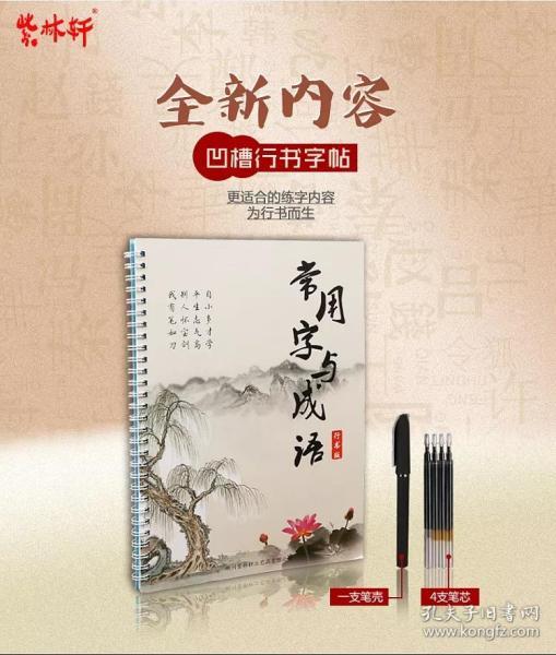 紫林軒 常用漢字凹槽行楷行書楷書鋼筆硬筆速成練字板字帖自動消失書法套裝