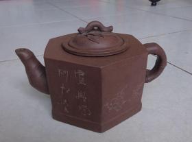 <紫砂壶>八十年代俞惠英款宜兴紫砂六角叶壶【保真】