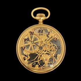 古董瑞士镂空怀表,18k黄金材质,表径43mm,手动机械,镂空雕花机芯,宝玑针,重45.4克,收藏品级