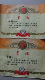 奖状两张合售——昌邑纺织工业公司——1985