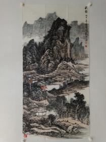 保真书画,当代山水画名家许澄宇先生四尺整纸国画《秋韵》一幅
