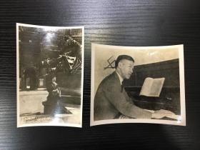 【老照片】冼星海照片2张 银盐照 约四五十年代翻拍