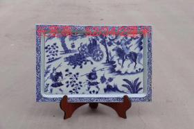 清代,青花手绘长方形赏盘,画功精细,瓷质细腻,入釉深邃A20运费自理