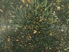 著名大连版画家、中国美协藏书票研究会常务理事 陈豪 2010年亲笔签名木版油印版画《美人蕉》一幅(版号随机,所售编号为19-38/50,作品得自于艺术家本人!)HXTX116655