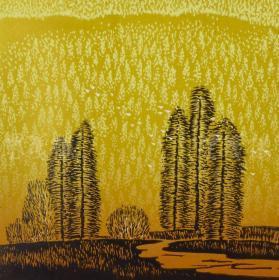 著名画家、鸡西市美协会员 陈万润 2011年亲笔签名 木版油印版画作品《松谷》一幅(版号随机,作品编号为:51-90/100,作品直接得自于艺术家本人!) HXTX116664
