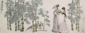 【展览作品 永久保真】中美协会员 马健 一丈二整张写意花鸟人物国画