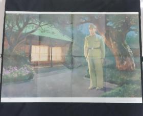 八十年代小学课本语文教学挂图:送雨衣(2开王永强画)