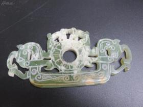 早期旧收藏高古玉古玩玉器玉壁古董把件摆件玉精品双面雕龙玉佩一件60克