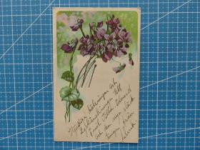 1907年1月28日美国(紫藤花)闪光金--实寄明信片贴早期邮票(11)