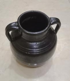 山西地方瓷器-清代--《清代黑釉双耳罐》--------虒人荣誉珍藏