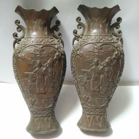 铜花瓶 雕刻人物故事花瓶一对(有底款)