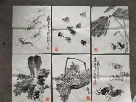 (著名画家 家里流出)著名画家  娄师白 国画册页6幅  每幅尺寸35x28
